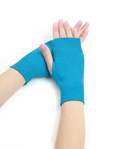 Allegra K Woman Tumbhole Knitted Fingerless Gloves (Blue Fingerless Gloves)
