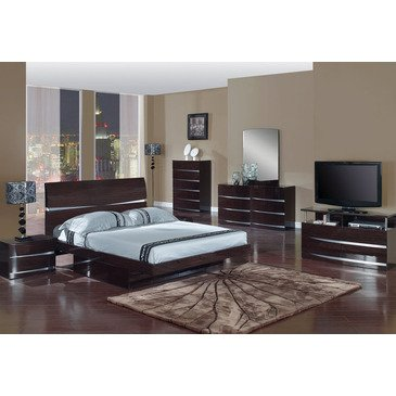 Global Furniture Aurora Collection MDF/Wood Veneer Queen Bed, Wenge