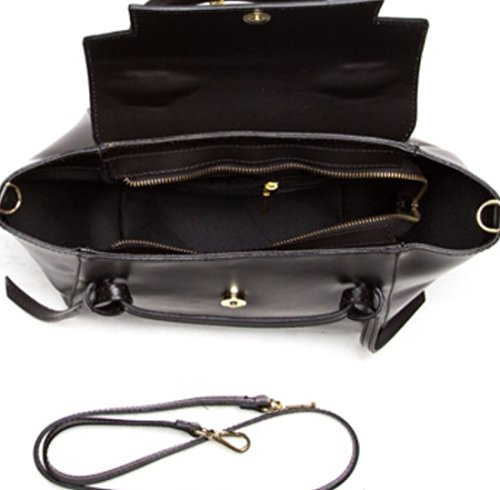 Superflybags Damentasche Modell Laura Echtes Glattleder Made in Italy Schwarz