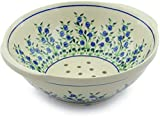 Polish Pottery 10-inch Colander (Blue Dream Theme) + Certificate of Authenticity