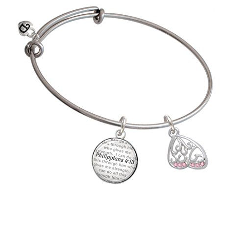 Open Pink Crystal Butterfly Wing - Bible Verse Philippians 4:13 Glass Dome Bangle Bracelet