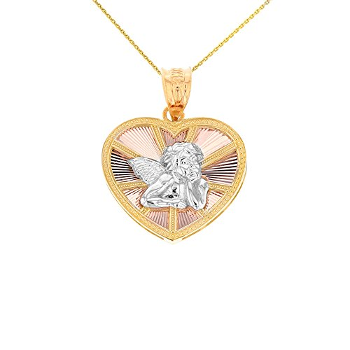 10k Tri-Color Gold Thinking Angel Heart Charm Pendant Necklace, 16'' by CaliRoseJewelry