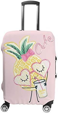 スーツケースカバー トラベルケース 荷物カバー 弾性素材 傷を防ぐ ほこりや汚れを防ぐ 個性 出張 男性と女性かわいいパイナップルの女の子