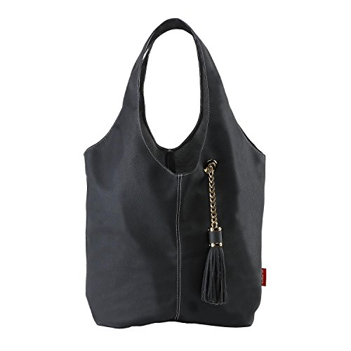 BURGAN Magnus Hobo Bag (Black Faux Leather with Gold Accents)