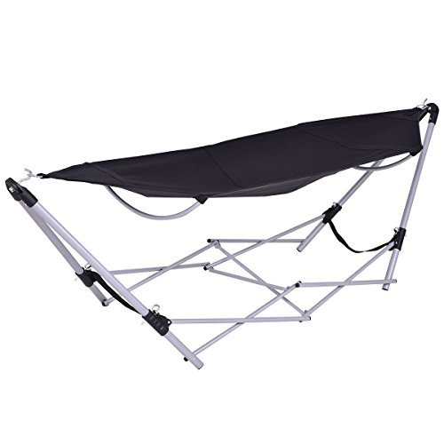 Giantex Portable Folding Hammock Lounge Camping Bed Steel Frame Stand W/Carry Bag (Black)