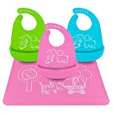 Silicone Baby Bibs, Ezire 3-pack Waterproof Silicone Bibs and Reusable Placemat for Babies Toddlers, Comfortable Soft Baby Bibs Placemat Keep Stains Off, Easily Wipes Clean (set of 4), Green Pink Blue, Medium