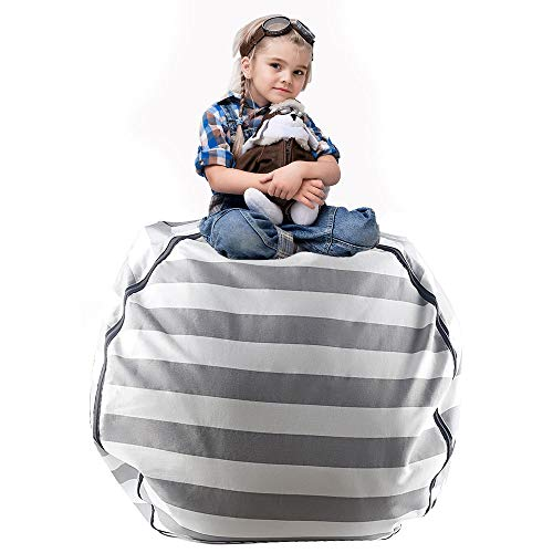 Tigerhu Kids Bean Bag Chair - Stuffed Animal Storage - Extra Large Cotton Canvas Organizing Bag - Perfect Storage Solutions for Plush Toys, Blankets, Towels & Clothes by Tigerhu