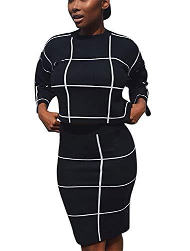 Molisry Women Short Sleeve Letter Print Plaid Crop Top Bodycon Long Pant Jumpsuits 2 Piece Outfits