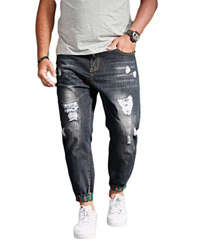 ADELINA Pantalones Vaqueros del Agujero De Y Los Confort Hombres Ocio Ropa Jeans Sueltos Pantalones del Zapato De Agua Caliente Jeans Pantalones Casuales Pantalones De Mezclilla Negro