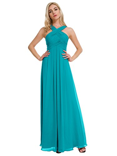 Turquoise Wedding Dress (Alicepub Pleated Chiffon Bridesmaid Dresses Formal Party Evening Gown Maxi Dress for Women, Turquoise,)