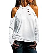 Dokotoo Women's Casual Loose Cold Shoulder Tops Halter Neck Hollowed Out Long Sleeve Shirts