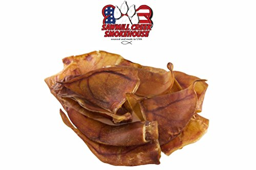 Sawmill Creek Smokehouse Pig Ear Half Chews 25 Pack Sourced & Made USA All Natural USDA Approved Chews for Dogs