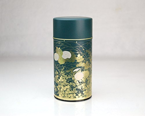 Shukanoen Japanese Green Tea Metal Tin [ Green ] - Japanese Tea Canister