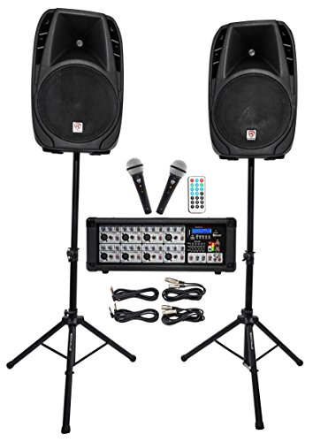 (Rockville Package PA System Mixer/Amp+ 15 inch Speakers+Stands+Mics+Bluetooth (RPG2X15))