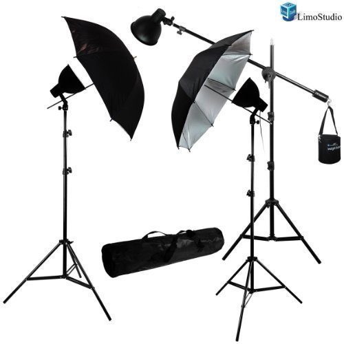 LimoStudio 900 Watt Studio Continuous Lighting Overhead Boom Light Kit w/ Umbrella Light Reflector Kit by LimoStudio