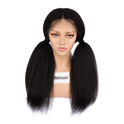 Lace Front Wigs Human Hair Italian Yaki Glueless Human Hair Wigs for Black Women Best Remy Brazilian Natural Color 130% Density 12-24inch