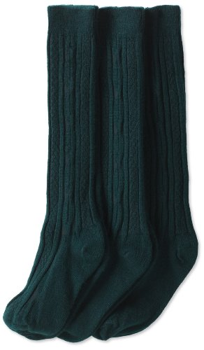 - Jefferies Socks Little Girls'  School Uniform Cable Knee High  (Pack of 3), Hunter, Small