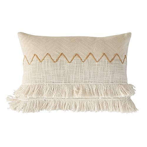 Eight Owls Boho Pillow Cover - Decorative Lumbar Tassel Fringe Throw Pillow Case - Woven Soft Textured Cotton - 14