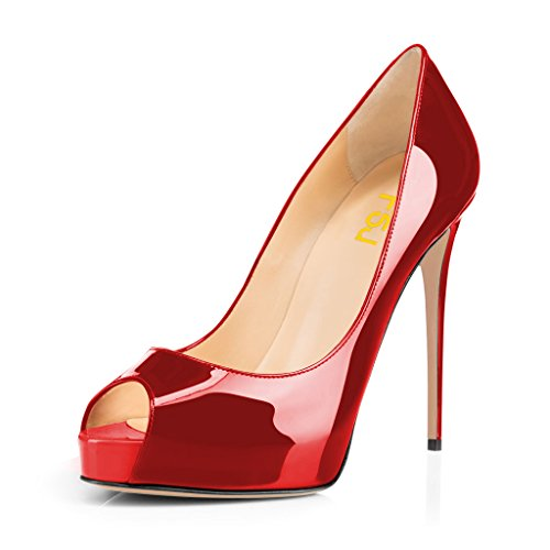 Platform Red Women Shoes 15 with Toe Slip Size Party Peep FSJ High Pumps patent On Prom US Heels Graceful 4 c4d8qWUwfx
