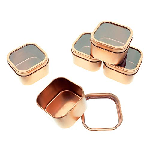 Mimi Pack 2 oz Tins 24 Pack of Square Window Top Tin Containers with Lids For Cosmetics, Party Favors and Gifts (Rose Gold)