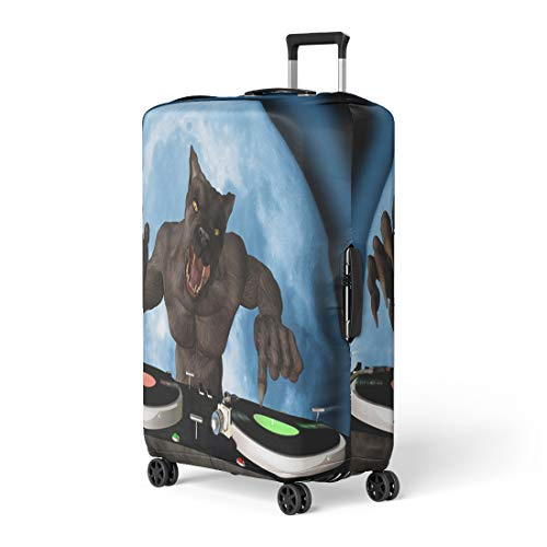 Semtomn Luggage Cover Lycan Dj Werewolf Is in the House and Mixing Travel Suitcase Cover Protector Baggage Case Fits 26-28 Inch]()