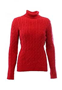 Charter Club Women's Medium Cable Knit Turtleneck Sweater Red M