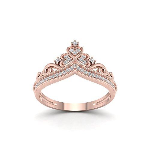 De Couer 10k Rose Gold 1/8ct TDW Diamond Crown Shape Fashion Ring (I-J, I2)