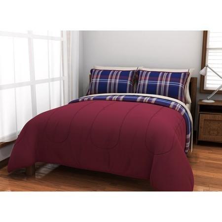 American Originals Burgundy Plaid Reversible Bed in a Bag Bedding Set