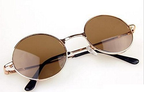 Jhon Lennon Polarizadas Redondas sol de Hombres Gafas Uv400 Unisex Marrón wqaITT