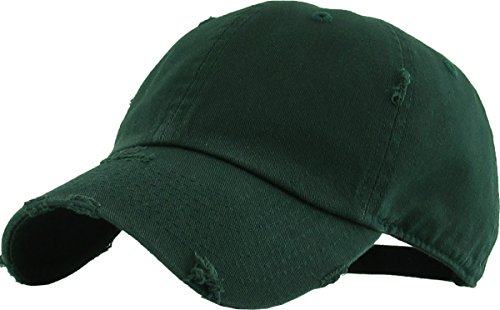 H-218-D22 Distressed Dad Hat Vintage Low Profile Baseball Cap - Forest Green