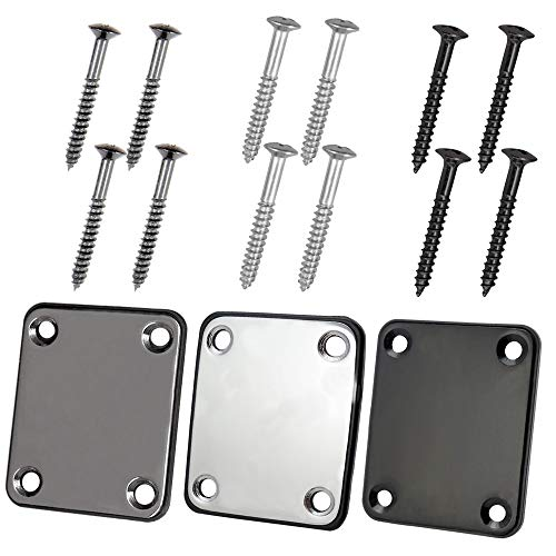 3 Pack Different Colors Electric Guitar Neck Plate with Crews, SourceTon Guitar Neck Plate (Silver, Black, Gun Black) for Replacement Electric Guitar Part