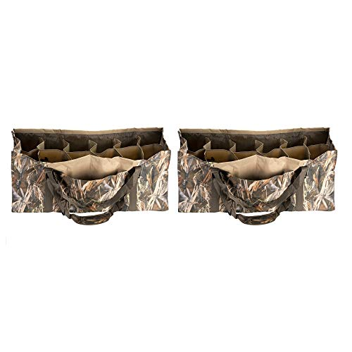 2 PACK-HOLDS 24 Duck Hunter Duck Decoy Bag Carrier Carrying Organizer Water Dirt Quick Drain Design Padded Shoulders Strap Protect Duckhunter Gear Full Size Decoys Waterfowl Clean Mallard Teal Blue - Decoy Strap