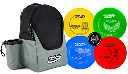 Innova Discs Golf Set with 4 Discs and Discover Disc Golf Backpack - DX Distance Driver, Fairway Driver, Mid-Range, Putter and Mini Marker Disc (Black/Gray)