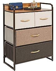mDesign - Ladekast - bergruimte voor de slaapkamer, overloop en gang - voor kleding, sokken en meer - met 4 lades en bovenblad - meerkleurig/espresso
