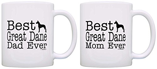 Dog Lover Gift Best Great Dane Mom Dad Ever Accessory Bundle 2 Pack Gift Coffee Mugs Tea Cups - Great Urn Dane