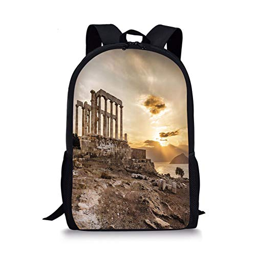 School Bags Pillar Decor,Greek Temple Poseidon at Sunset Sea and the Cloudy Sky Digital Image,Taupe and Beige for Boys&Girls Mens Sport Daypack]()