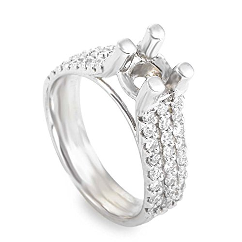 Diamond Gold Mounting (Luxury Bazaar 14K White Gold Diamond Mounting Ring LBD-0677323)