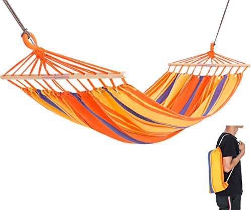 KingCamp Single Portable Cotton Hammock with Foldable Wood Spreader Bars Ropes for Indoor Outdoor Garden Patio Yard Camping Travel, Supports 220lbs, Carry Bag Included, Orange - Compact and space saving, packed size 16 × 5.5 × 5.1 inches, only weight 3.9 lbs, protable with carry bag. Foldable solid wooden spreader bar keeps the hammock open and flat, no squeezed feeling. Set size 78.7 × 39.3 inches, support weight 220lbs, enough for an adult and a child. - patio-furniture, patio, hammocks - 41Sy lUnXHL -