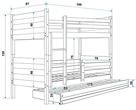 Litera 3 plazas Clir 190 x 80 con los somieres y colchones: Amazon.es: Hogar