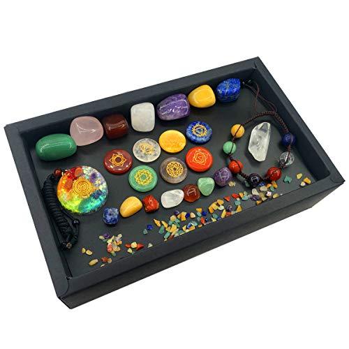 Crystals and Healing Stones Set of 24pcs, Tumbled Chakra Healing Crystals, Round Healing Stones, Chakra Orgone Pendant…