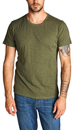ToBeInStyle Men's Short Sleeve Crew Neck Slub Cotton T-Shirt - Olive - Large (Crewneck Slub T-shirt)