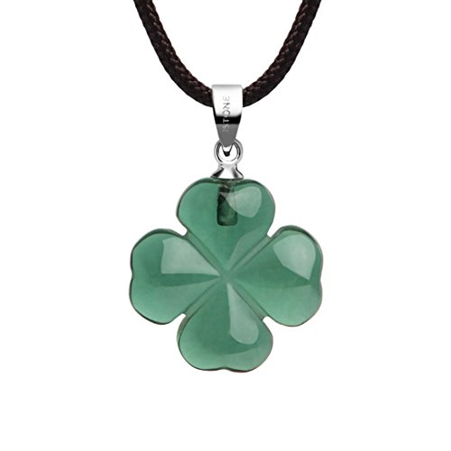iSTONE Four Leaf Lucky Clover Birthstone Necklace Love Heart Pendant Fine Green Crystal Necklace 16 Inch Rope Chain