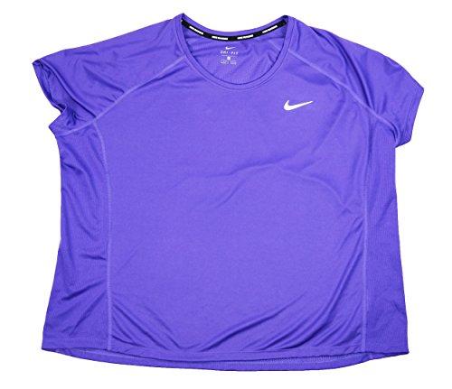 Womens Nike Pullover (NIKE Womens Plus Miler Colorblock Short Sleeves Pullover Top Purple 2X)