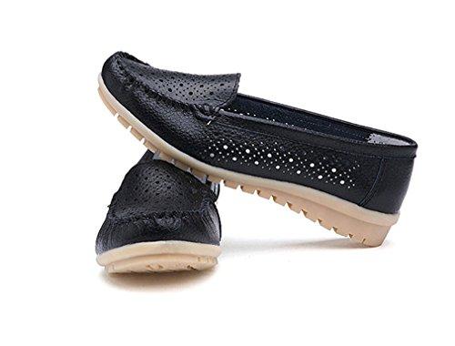 mujer mujer Mocasines zapatos zapatos Mocasines genuino los mujer de Zapatos de Zapatos mujer Hole de de Bridfa de Black de cuero qw6P4Sxn
