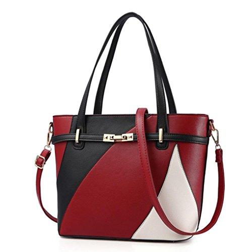 Tasche, Voberry Frauen Leder Handtasche Schultertasche Messenger Umhängetasche Schulter Crossbody Rot
