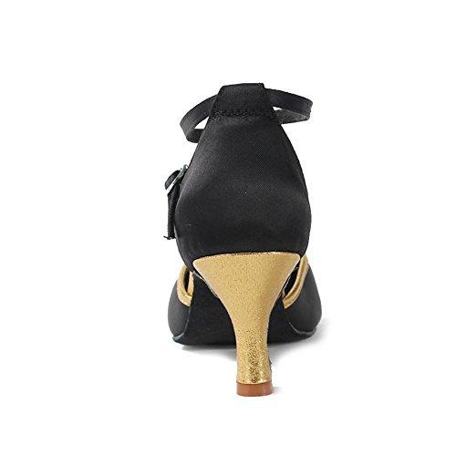 Tanzschuhe DEWXCL Schuhe Damen Dance Black Latein Sandalen Gold HIPPOSEUS Ballsaal amp; Mädchen Ausgestelltes Standard wZAqXPv