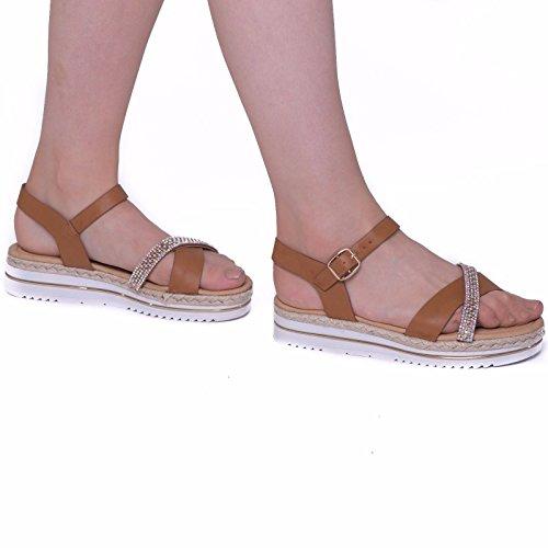 SnobUK - Sandalias romanas mujer marrón claro
