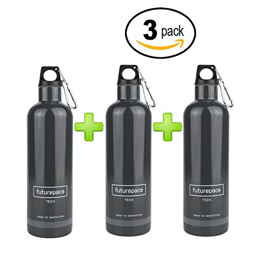 Futurepace Tech BUNDLE SPECIALS - DARK GRAY, STAINLESS STEEL INSULATED WATER BOTTLE - SET OF 3 BOTTLES - 20oz - BPA FREE by SO MANY USES! Perfect for Men, Women, Boys, Girls, Adults Bicycle Hunting Bottle Bundle