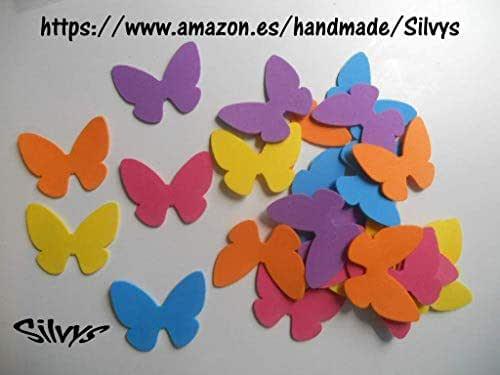 25 mariposas de distintos colores de goma eva de 5,5 x 4,5