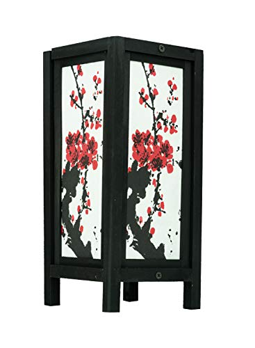 Thai Vintage Handmade Asian Oriental Art Mei Flowers Style Accessories Bedside Table Light or Floor Wood Paper Lanna Lamp Shades Home Bedroom Decor/Garden Decorative Modern Design from Thailand